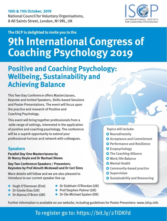 Poster advertising the 9th International Congress of Coaching Psychology 2019 10-11 October 2019 in London